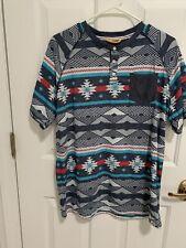 Free Planet Mens L Multicolor Casual Shirt Sleeved Shirt