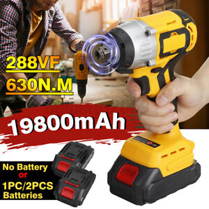 19800mAh 630Nm 1/2'' Brushless Electric Impact Wrench Torque Tool w/ 2 Batteries