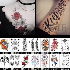 1-2Pcs Temporary Tattoo Sticker Waterproof Large Fake Tattoos Removable Body Art