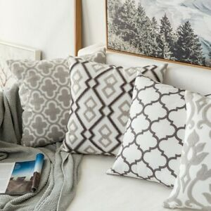 Grey Geometri Home Decor Cushion Cover Canva Cotton Suqare Pillow Cover 45x45cm