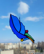 Stained Glass Suncatcher Blue Feather  Handmade