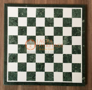 """12"""" Marble Green Handmade Top Chess Set Table Mosaic Handmade Collectible Gift"""