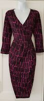 Womens Jaeger Black Fushcia Pink Geo Wrap Gathered Shift Dress With Pockets 10.