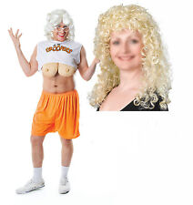 Droopers HOOTERS WAITRESS UOMO CERVO COSTUME VESTITO + BIONDA Curley Parrucca
