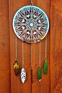 Wind Chime Spinner Dream Catcher Mandala Love Hanging Garden Porch Silver Chrome