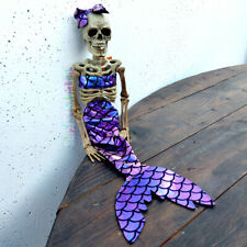 "16"" Mermaid Skeleton Halloween hanging jointed figure iridescent fabric spooky"
