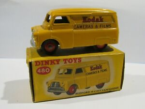 1954 DINKY TOYS BEDFORD KODAK VAN #480-G YELLOW WITH ORIGINAL BOX
