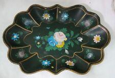 Antique Paper Mache' Mache Dark Green Floral Bowl Fluted Hand Painted