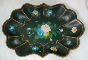 Antique Paper Mache' Mache Dark Green Floral Bowl Fluted Hand Painted