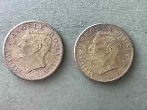 500 Lei 1945 Romania two same coins
