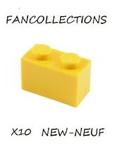 LEGO- X10 Yellow Brick 1 x 2   ,3004 NEUF