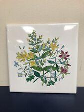 """Hyalyn Art Tile 505 Flowers Trivet Hot Plate 6"""" X 6"""" Ceramic Tile Wall Hanging"""