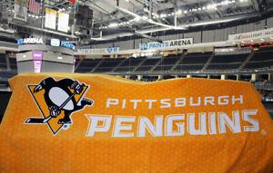 NEW Pittsburgh Penguins Beach Towel 30 x 60 Black Gold 2019 Charity Bag