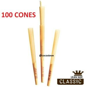 RAW Classic LEAN SIZE Cone Rolling Papers - 100 Pack - Pre-Rolled w/Filter BULK