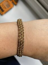 417 925 Mark 10k Gold And Sterling Silver Plait  Style Bracelet -19cm
