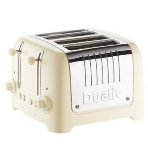 Dualit 4 Slice Lite Toaster With Bagel And Defrost Button Stainless Steel Cream