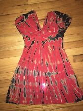 Style Biz Red Black Tie Dye Cap Sleeve Flowy Dress