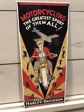 """HARLEY DAVIDSON 1931 DL VL RL MOTORCYCLE  15"""" X 6.5"""" PORCELAIN HEAVY METAL SIGN"""