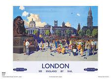 LONDON TRAFALGAR NELSON RETRO VINTAGE RAILWAY TRAVEL POSTER ADVERTISING ART