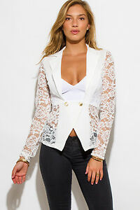 Two-button double-breasted lace back blazer by San Julian, Made in the USA