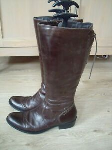PAVERS Brown leather Riding Style knee boots Size 5/38 WIDE CALF 16""