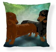Dachshund Dog Puppy  Vintage painting  Cushion Cover sausages
