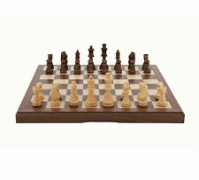 "Quality Dal Rossi Italy Premium Chess Set 12"" Walnut Inlaid Folding Box Gift"