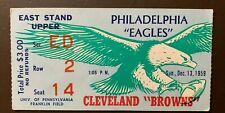 Philadelphia Eagles 1959 ORIGINAL NFL ticket vs Cleveland Browns