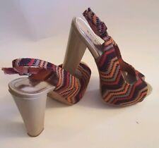 Women's High Heel Bamboo Shoes Orange/Taupe/Burgandy/Red Size 7