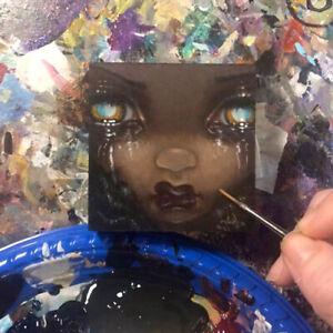 Tiny Treasure 185 Jasmine Becket-Griffith ORIGINAL PAINTING big eyes gothic art