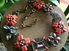 NWT J Crew Geometric Bouquet Mixed Stone Crystal Statement Necklace, Beautiful!!