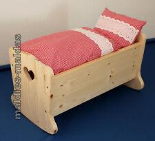 Puppenwiege Puppenbett aus Massivem Holz Bettzeug rot/weiß kariert NEU