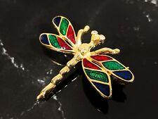 Lovely Goldtone Enamelling, Rhinestones Eyes Vintage Dragonfly Brooch
