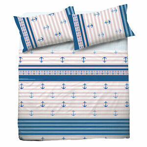 Set Bed Pompea Anchor Sheets Above Under with Corners And Pillowcase Blue
