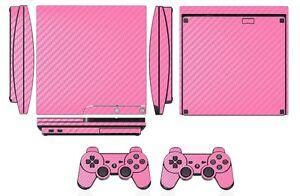 Pink Carbon Fiber Skin Sticker for PS3 PlayStation 3 Slim and 2 controller skins