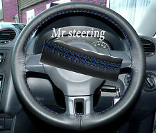 FITS VW GOLF MK6 BLACK ITALIAN LEATHER STEERING WHEEL COVER BLUE STITCH 2008-12