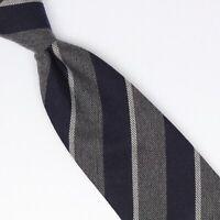 John G Hardy Mens Silk Cotton Necktie Navy Blue Gray Repp Stripe Tie Italy Soft