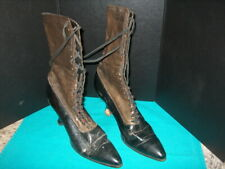 """Leather Boots Antique Lace-Up W/Patent Leather Heels """"The Bell"""" Kalamazoo, Mich."""