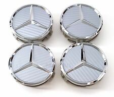 4 PCS Gray Carbon Fiber WHEEL CENTER CAPS MERCEDES BENZ C ML CLS S GL SL E CLK