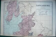 1884 LARGE ANTIQUE COUNTY MAP-BACON -WELLER,LANCASHIRE NTH & STH, 2 MAPS