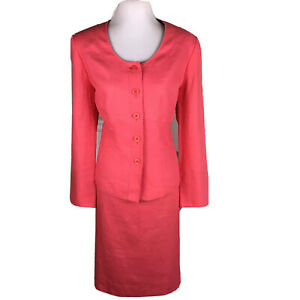 KASPER Women 2 PC Linen Pink Lined Pencil Skirt Suit Size 14