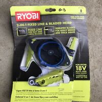 Ryobi 2 In 1 Pivoting Fixed Line & Bladed Head AC052N1 New 18V Auto Feed Trimme.