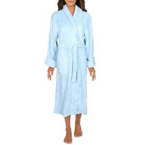 Lands' End Womens Blue Terry Cloth Spa Long Robe Loungewear M 10-12 BHFO 3051