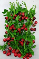 6xArtificial leaves with cherry string  free chipping Oz stock