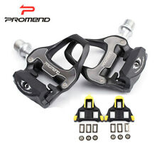 PROMEND Road Cycling Bike Clipless Pedals with SPD-SL Cleats CR-MO Bearing Axle