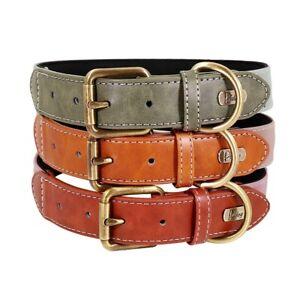 Dog Collar Leather Small Large Strong Pink Medium Hunter Green Black Blue XL