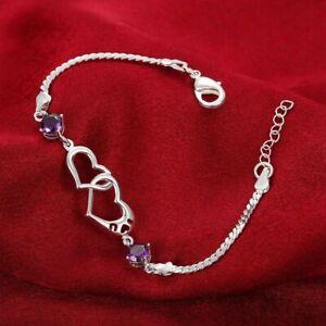 Beautiful Purple Sterling Silver Heart Love Bracelet or anklet pendant zirconia