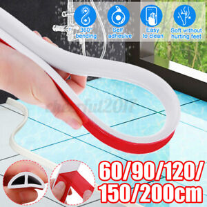 Bathroom Kitchen Foldable Water Stopper Self Adhesive Rubber Dam Shower BarrierQ