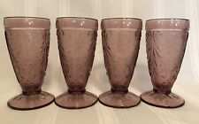 4 AMETHYST Plum Indiana TIARA Pressed SANDWICH Footed Iced Tea Glasses vtg P1