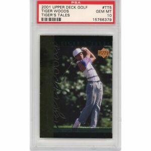 Graded 2001 Upper Deck Golf TIGER WOODS #TT5 Tiger's Tales Rookie Card PSA 10